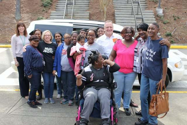 Cathaleen Webb receives wheelchair accessible van