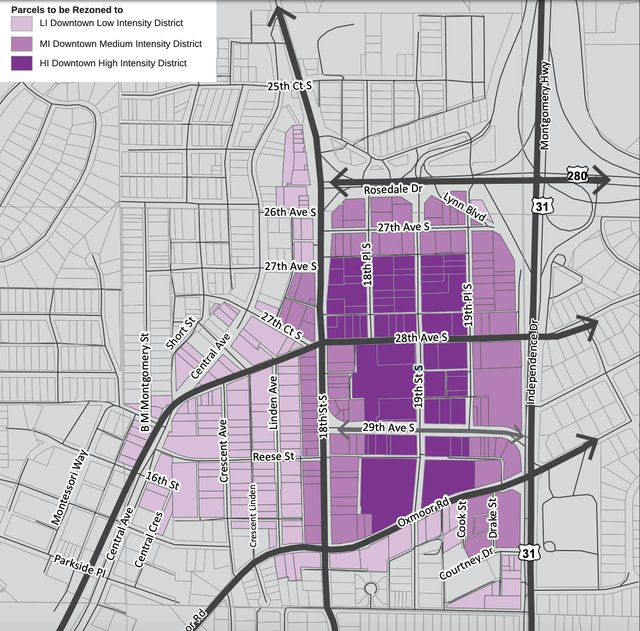 Proposed downtown intensity zoning